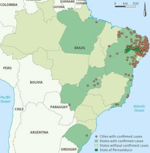 显示巴西小头畸形病例的城市和州的地图