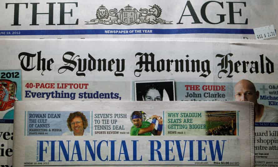 Mastheads of the Age, the Sydney Morning Herald and the Australian Financial Review