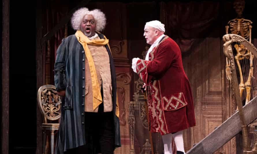 Keel Watson (Basilio) and Andrew Shore (Dr Bartolo) in the WNO's Barber of Seville.
