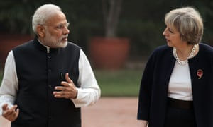 Narendra Modi and Theresa May during her visit to India.