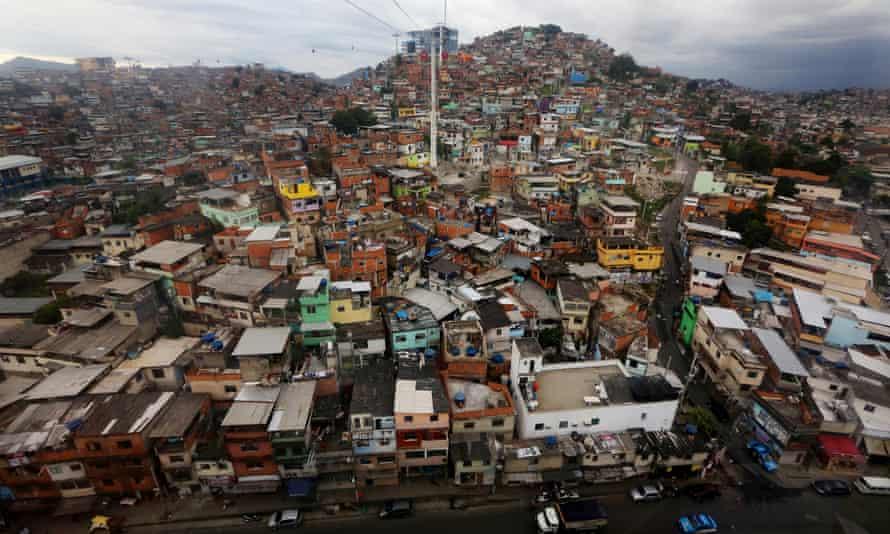 The Alemão favela complex in Rio de Janeiro, viewed from the cable car.