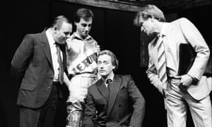 Nighy (right) in Pravda at the Olivier with Anthony Hopkins (far left), 1985.