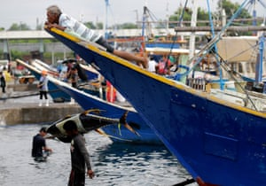 Fishermen in General Santos port, known as the country's tuna capital.
