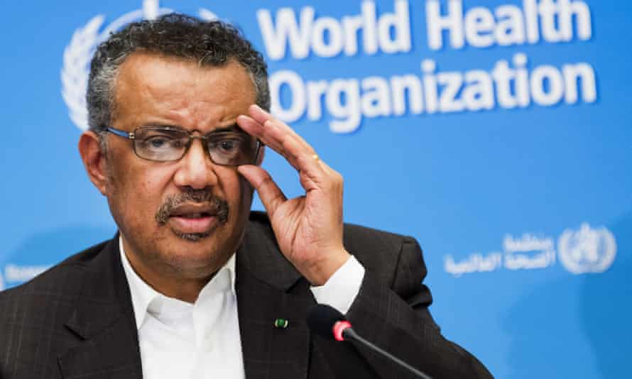 In this file photo Tedros Adhanom Ghebreyesus, director general of the World Health Organization, talks to the media at the WHO headquarters in Geneva, Switzerland.