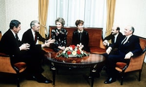 In November 1985, Ronald Reagan, his wife Nancy and an aide, left, meet Mikhail Gorbachev, his wife Raisa and an aide in Geneva, Switzerland.