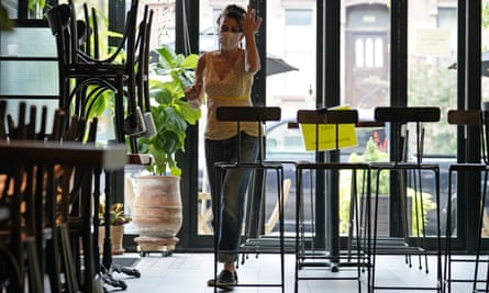 Samantha DiStefano walks through Mama Fox, her Brooklyn restaurant and bar, while preparing for indoor dining Tuesday.