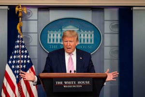 US-health-VIRUS-BRIEFINGUS President Donald Trump speaks during the daily briefing on the novel coronavirus, COVID-19, at the White House on April 4, 2020, in Washington, DC. (Photo by JIM WATSON / AFP) (Photo by JIM WATSON/AFP via Getty Images)