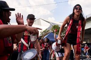 Members of the Resurgence fan club doing their pre-game ritual chants.