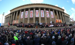 A vigil is held for the 96 victims of Hillsborough tragedy outside Liverpool's Saint George's Hall.