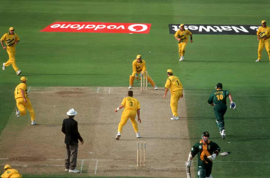 Allan Donald fails to make it and is run out & Australia win the 199 Cricket World Cup semi-final between Australia and South Africa at Edgbaston on 17 June 1999.