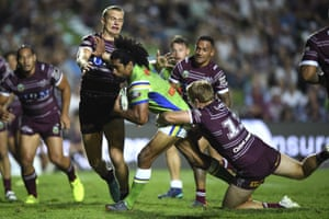 Brothers in arms: Iosia Soliola of Canberra Raiders is tackled by Tom Trbojevic (left) and Jake Trbojevic of Manly Sea Eagles.