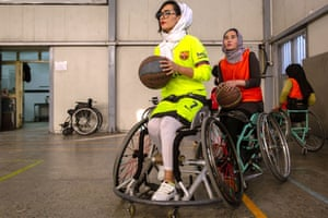 Nilofar Bayat, 24, coach of the Afghan women's national wheelchair basketball team, during a training session on 7 February in Kabul, Afghanistan.