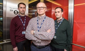 Simon Harwood (Jason Watkins, centre) of W1A, the BBC's fictional director of strategic governance.