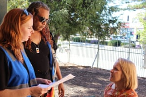 Anthea Krieg, right, discusses a case with members of the Ceduna Street Beat community patrol team