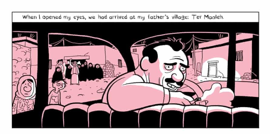 The family arrive at Sattouf's father's childhood village in Syria in a scene from The Arab of the Future.