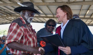 Malarngowem and Yurriyangem Taam native title holders, Gordon Barney (left) and Shirley Purdie, with Justice Katrina Banks-Smith at Warmun on Thursday.