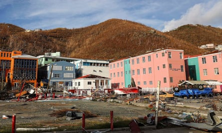 Some of the destruction in Road Town, Tortola, on the British Virgin Islands.