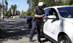 A police officer stops a driver in Santa Rosa, California, 10 October 2019.