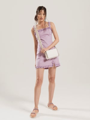 Model wears lilac dress, £46, urbanoutfitters.com. Sandals, £40, teva.co.uk. Bag, from a selection, lutzmorris.com.