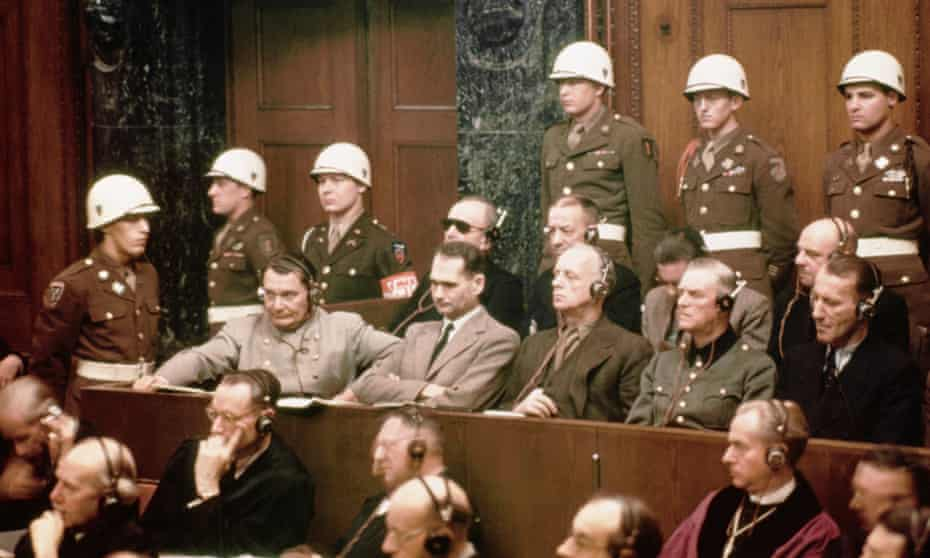 Hermann Goering and Rudolf Hess, both far left, at Nuremberg.