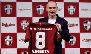 Andrés Iniesta signed for Vissel Kobe in 2018 to join fellow World Cup-winner Lukas Podolski.