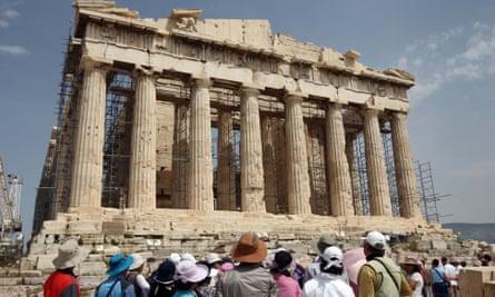 Tourists visiting the Acropolis, Athens, Greece
