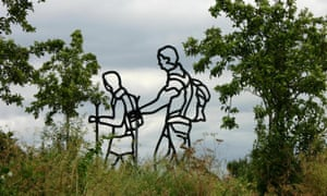 The Ramblers, 2001, by Ray Smith, a public sculpture at Heston Farm estate, Hounslow, west London