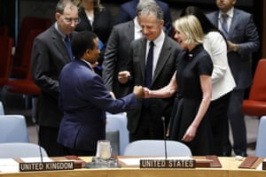 New York, US New US ambassador to the United Nations Kelly Craft greets her South African counterpartJerry Matjila at UN headquarters