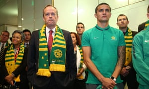 Opposition leader Bill Shorten with Socceroo Tim Cahill at the launch of Football Cares.