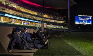 Setting up at the CEO Sleepout held at the Sydney Cricket Ground on Thursday.