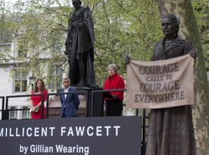 Theresa May speaking earlier today at the ceremony to unveil the statue of the Suffragist leader Millicent Fawcett in Parliament Square. The Statue has been created by Turner-prize winning artist, Gillian Wearing.