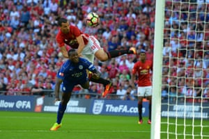 Ibrahimovic rises above Morgan to head in United's second.