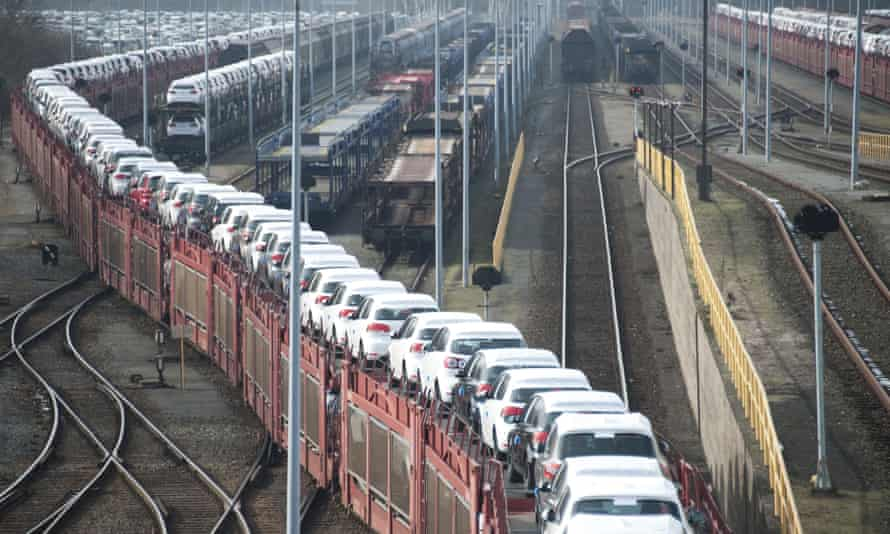 New cars being transported by rail from a Volkswagen plant in Wolfsburg, Germany