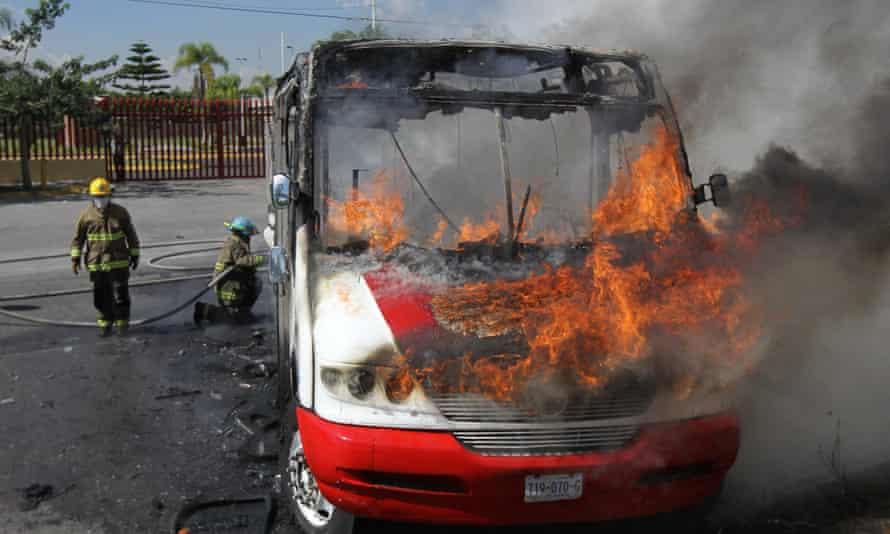 Bus fire in Guadalajara