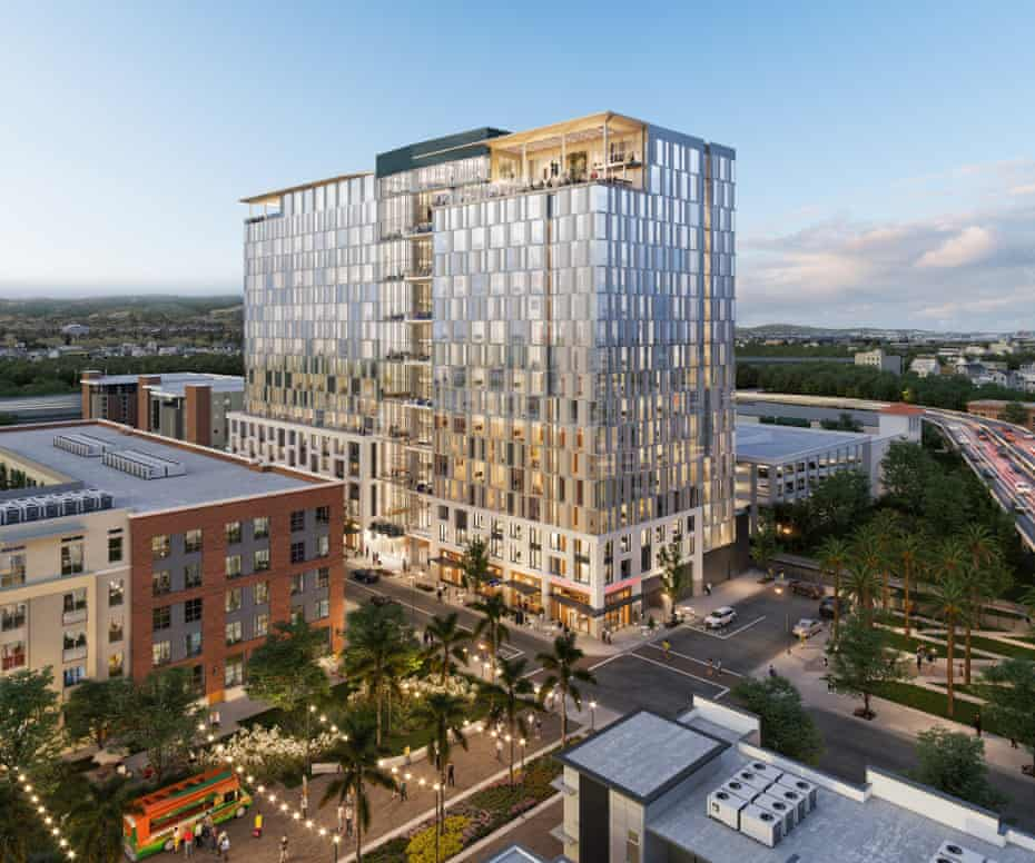 A rendering of Starcity's proposed co-living building in downtown San Jose.