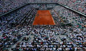 A view of the court Philippe Chatrier where Novak Djokovic and Andy Murray are playing their semi-final match at the Roland Garros in Paris.