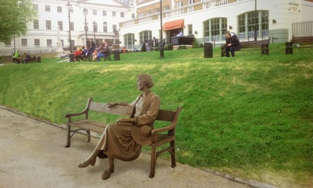 A mock-up of the statue of Virginia Woolf in Richmond, London.