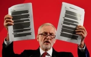 London, UKThe Labour party leader, Jeremy Corbyn, reveals a 451-page unredacted document 'proving NHS up for sale' at a general election campaign event