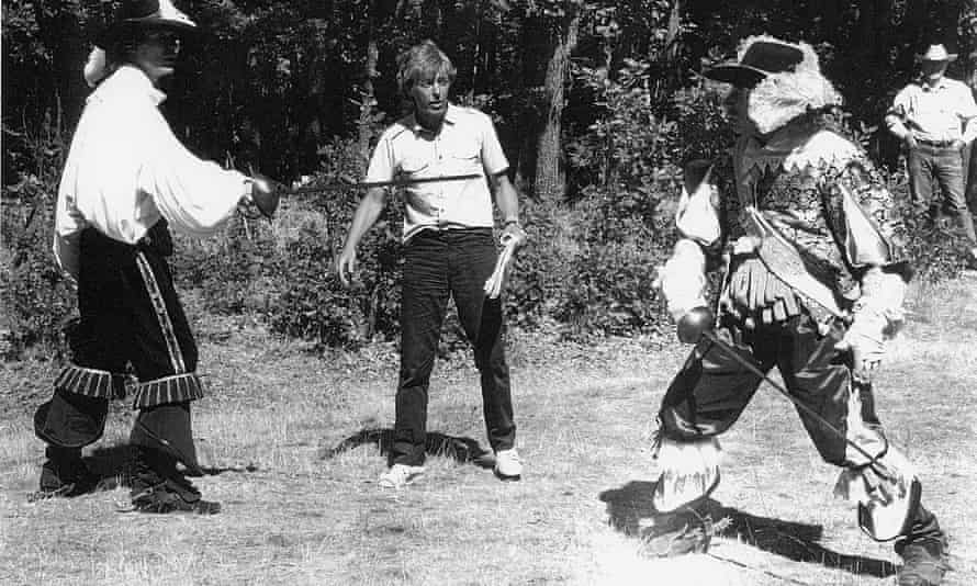 William Hobbs choreographing a sword fight on the set of The Return of the Musketeers, 1989