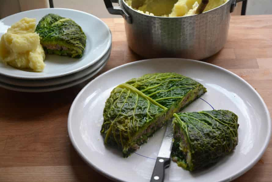 Rachel Roddy's cabbage and sausage cake