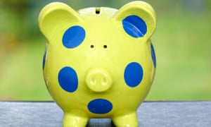 Green and blue spotted piggy bank