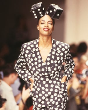 A model wearing spring/summer 1989 Patrick Kelly designs at Paris fashion week.