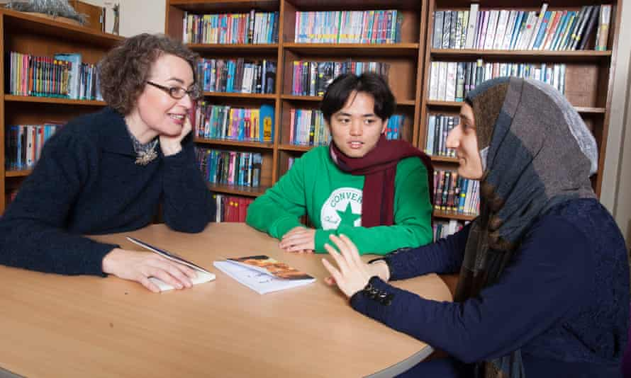 Kate Clanchy with pupils at Oxford Spires Academy, Oxford