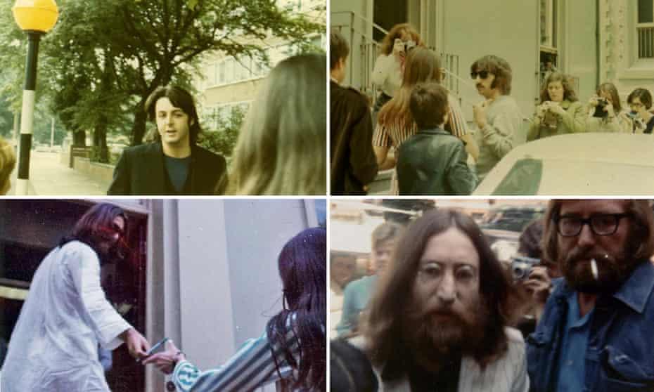 Fan photos of (clockwise from top left) Paul McCartney, Ringo Starr, John Lennon and George Harrison used in Lewisohn's show Hornsey Road.
