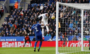 Leicester City's Kasper Schmeichel makes a save from Crystal Palace's Christian Benteke.