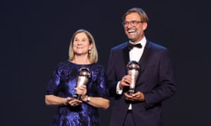 USA's Jill Ellis and Liverpool's Jürgen Klopp took the coach of the year prizes.