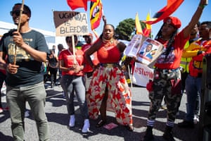 Marvina Newton of United For Black Lives. Protestors in Falmouth, Cornwall, during the G7 Summit.