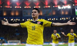 James Rodríguez celebrates scoring the goal for Colombia against Uruguay at the 2014 World Cup that led to his transfer to Real Madrid.