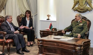 Field Marshal Khalifa Haftar (right) meets with UN secretary general António Guterres on Friday.