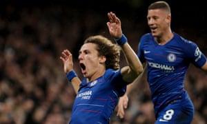 David Luiz celebrates after scoring Chelsea's second goal.